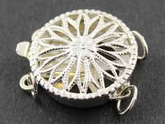 Sterling Silver Round Filigree Clasp with 2 Ring1 by Beadspoint, $8.99
