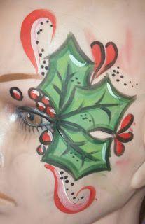 holly face paint design cheek art
