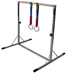 Gymnastics rings are a great addition to a home kids mini high bar by allowing for an entirely extra set of gymnastics exercises. Cheap Gymnastics Bars, Gymnastics Equipment For Home, Gymnastics Room, Gymnastics Party, Gymnastics Outfits, Home Gym Equipment, Gymnastics Stuff, Trampoline Sport, Kids House