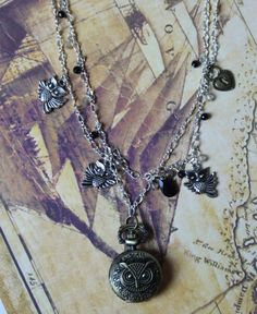 Women's Fashion Owl Time Locket Steampunk by BlissWearUnlimited