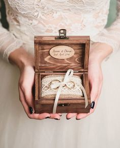 Serious wood name alliance gate with jute and lace cushion Rustic Ring Bearers, Ring Bearer Box, Wedding Ring Cushion, Cushion Ring, Wooden Ring Box, Wooden Rings, The Wedding Date, Wedding Photos, Ring Holder Wedding