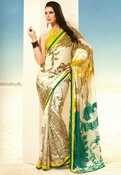Off White Faux Georgette Saree with Blouse @ $28.41