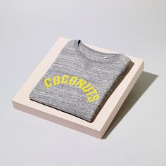 Coconuts Sweatshirt With Citrus Yellow Print by Hey Holla, the perfect gift for Explore more unique gifts in our curated marketplace. Unique Gifts, Great Gifts, Sports Vest, Yellow Print, Meaningful Gifts, Grey Sweatshirt, Soft Fabrics, Organic Cotton, How To Memorize Things