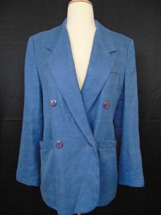 Jos. A. Bank Women Blazer Blue 1-Button Lined Textured Size 6 #1030 #JosABank #Blazer