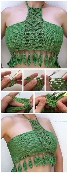 Top 4 Crochet Summer Crop Top Patterns - Crochet Kingdom Crochet Summer Tops, All Free Crochet, Crochet Tops, Cute Crochet, Crochet Shorts Pattern, Crochet Shirt, Crochet Patterns, Crotchet Crop Top, Crop Top Pattern