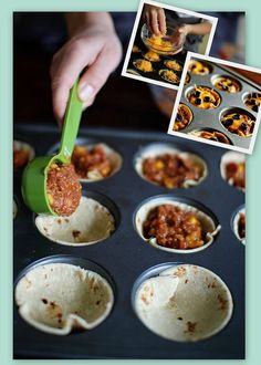 """Mini Mexican Pizzas! -  In a bowl - Mix Ground Meat, Taco Seasoning, Salsa, and Re-fried Beans.  Use a cookie cutter or an empty glass to cut bigger tortillas into smaller ones. Press them into a muffin pan. Scoop the """"meat mix"""" into the wraps, top with Cheese (and any other toppings you would like) and bake for 15 minutes at 425! Serve with salsa, sour cream, lettuce, etc...  detailed recipe - http://myfridgefood.com/ViewRecipe.aspx?recipe=21124"""