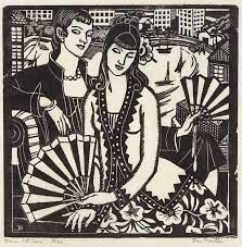 """Women with Fans"" 1930 woodblock print in black ink by Thea Proctor Lesbian Art, Australian Artists, Woodblock Print, White Art, Art Google, Screen Printing, Illustration Art, Illustrations, Art Gallery"