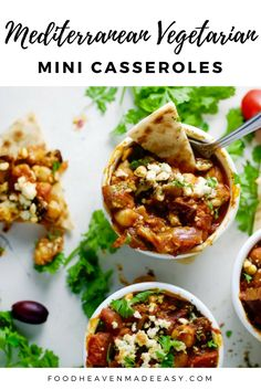 Who is ready for these Mediterranean Vegetarian Mini Casseroles? September has arrived, which means it's back to school season for all you kiddos in school. We teamed up with Abbey from Abbey's Kitchen, to bring you some back to school recipes this week! Healthy Casserole Recipes, Veggie Recipes, Real Food Recipes, Cooking Recipes, Healthy Recipes, Veggie Meals, Free Recipes, Healthy Family Meals, Nutritious Meals