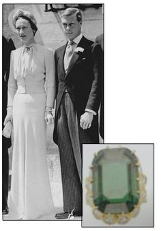 WALLIS SIMPSON, the twice divorced American, received this 19.77 carat emerald engagement ring from King Edward VIII in 1937, who famously gave up his crown to be with Simpson.