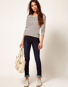Striped Jersey Top with Button Shoulder & cuffed jeans