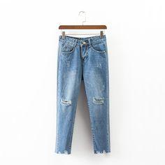 2017 summer jeans woman casual hole high waist jeans denim pants woman wide leg pants #Affiliate
