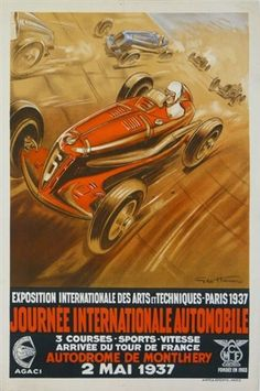 A4 Vintage car poster racing motorsport automobile Nice 1949 Vitesse