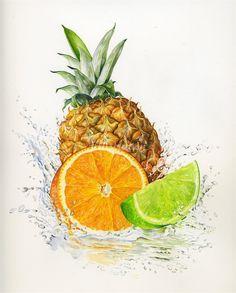 Pineapple, Orange and Lemon illustration by Rosie Sanders