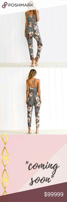 ❣🌼❣Gray Floral Romper Pant Jumpsuit❣🌼❣ BRAND NEW,  Cute Gray Floral Romper Pant Jumpsuit..  ❣Condition: 100% Brand New 🌼Material: Polyester  ❣Size: LARGE 🌼Style: Jumpsuit  ❣Bust: 98cm,  Length: 130cm,  Waist: 72cm 🌼Quantity: 1 pcs Set Romper Jumpsuit Pants Jumpsuits & Rompers