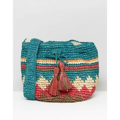 Hat Attack Multi Print Straw Drawstring Bag (€37) ❤ liked on Polyvore featuring bags, handbags, multi, blue drawstring bags, woven handbags, blue purse, woven straw handbags and colorful purses