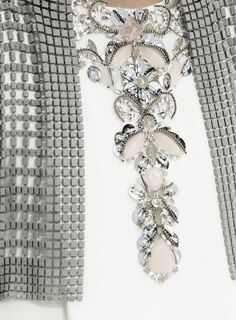 Beaded bolero with micro tile beads over a jewel embellished dress; chic fashion details // Chanel