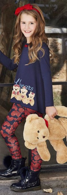 SALE!!! BALLOON CHIC Girls Printed Leggings Set With a diamante embellished bear print top and all-over heart motif on the leggings. Super Cute Girls Style for Baby, Kids up to Tween & Teens. Perfect to lounge in at home or a comfy stylish look for a night out on the town. Fall Winter 2017 Kids Fashion on Sale. #kidsfashion #fashionkids #girlsdresses #childrensclothing #girlsclothes #girlsclothing #girlsfashion #minime #mommyandme #cute #girl #kids #fashion