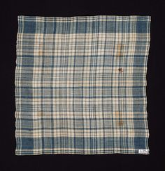 American Linen Handkerchief, 18th Century, Plain weave in deep blue and natural-colored linen. Plaid design. Selvedge on both sides. Hemmed at both ends. Museum of Fine Arts, Boston