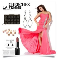 """Evening Dress With Rhinestone"" by johnnymuller ❤ liked on Polyvore featuring Hera, Glint, Kershaw and Giorgio Armani"