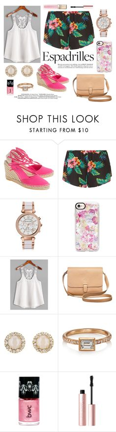 """""""Espadrilles"""" by linmari ❤ liked on Polyvore featuring Ashley Graham, Michael Kors, Casetify, Kate Spade, Malcolm Betts, Guerlain and Too Faced Cosmetics"""