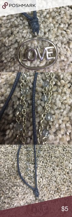 LOVE Beaded Layered Necklace Blue & Silver Approx 19in in diameter.  Love. Blue and Silver. PacSun Jewelry Necklaces