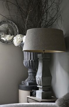 Statement baluster table lamp base with linen shade available from Sassy Hardwick