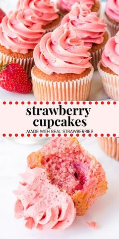 cupcake recipes These fresh Strawberry Cupcakes have a delicious strawberry flavor and chunks of fresh strawberries in the cake batter. Then theyre frosted with strawberry frosting made from real berries for the perfect pretty-in-pink cupcake. Cupcakes Roses, Frost Cupcakes, Pink Velvet Cupcakes, Key Lime Cupcakes, Pretty Cupcakes, Valentine Desserts, Valentine Cupcakes, Easter Desserts, Food Cakes
