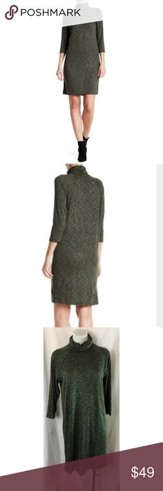 Bobeau Petite dress turtleneck 3/4 sleeve knit Bobeau Petite dress sz LP olive black turtleneck 3/4 sleeve knit Women's Size:  LP Approx measurement: armpit to armpit - 19 1/2 inches; length - 35 1/2 inches Fabric content: 55% rayon, 42% polyester, 3% spandex Machine washable new with tags - see pictures bobeau Dresses