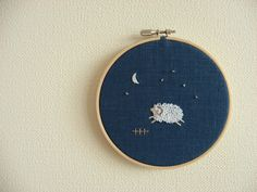 Sweet Dreams Original Embroidery Wall Art by frommyatelier on Etsy, Crafty Projects, Sweet Dreams, Kids Room, Coin Purse, Embroidery, Wall Art, The Originals, Unique Jewelry, Creative
