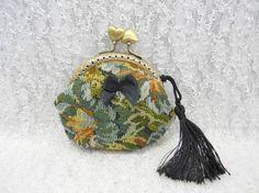 """Porte monnaie vintage """"Mary Poppins"""" en tissu tapisserie!!"""
