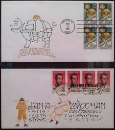 Usa Street, Decorated Envelopes, Envelope Art, Humphrey Bogart, Snail Mail, Calligraphy, Lettering, Post Office, Drawing Letters