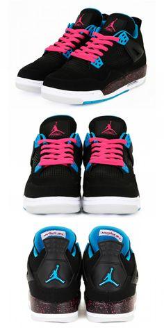 new styles 377d9 2eef5 Air Jordan 4 Retro GS - Black Dynamic Blue-Vivid Pink - New Images