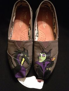 Custom Designed Maleficent Hand Painted TOMS by TheSoleArtist