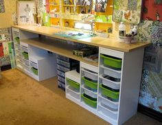 Affordable craft room ideas - Using Ikea kids storage and Re-Store countertops - Retro Renovation Affordable Craft Room Ideas.for my scrapbooking stuff! - Using Ikea Kids Storage and Re-Store Counter Tops Ikea Kids Storage, Craft Room Storage, Craft Organization, Storage Ideas, Craft Desk, Diy Desk, Storage Units, Office Storage, Lego Storage