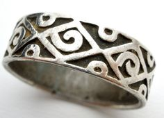 Sterling Silver Handmade Ring Vintage Wide by TheJewelryLadysStore