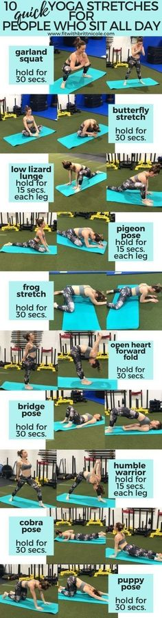 Yoga Poses & Workout : Here are 10 quick yoga stretches for busy people who sit all day! #yoga  #stretch #fitness  #exercise  #courageouspaths.com