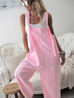 Summer Women Casual Loose Bodysuits Linen Cotton Jumpsuit Dungarees Playsuit Long Trousers Overalls Wide Leg Streetwear Size S Color apricot Plus Size Romper, Harem Trousers, Cotton Jumpsuit, Long Romper, Shirt Bluse, Street Chic, Jumpsuits For Women, Rompers Women, Types Of Fashion Styles