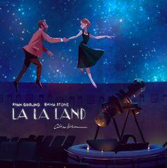 La La Land cuenta la historia de un pianista y una actriz que se enamoran perdidamente en Los Ángeles. | 26 Hermosas ilustraciones que sólo apreciarás si amaste 'La La Land'
