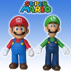 """Super Mario Brothers 5"""" MARIO & LUIGI ACTION FIGURE SET - by NINTENDO/BANPRESTO $11.99 (save $18.00)"""