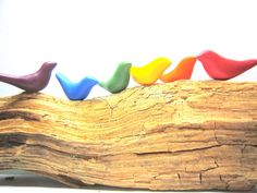 Flock of six handmade tiny birds in the color of por HamlinDesign, Kč200.00