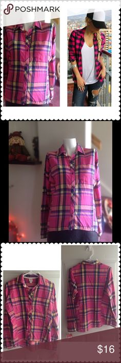 Hi-low plaid top Cute hi-low plaid button down top. With pink, blue, yellow, and black. Size chart and measurements in last photo. Never worn. Good condition. 100% cotton. Mossimo Supply Co Tops Button Down Shirts