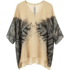 Raquel Allegra tie-dye silk tee TRA20BSS13 (560 BRL) ❤ liked on Polyvore featuring tops, t-shirts, shirts, blouses, tye dye t shirts, silk t shirt, brown t shirt, tie die t shirt and silk tops