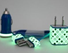 POLKA DOTS GLOW IN THE DARK IPHONE CHARGER?! Yes, you read it correctly. This is the ultimate techie + posh gadget! This item is very helpful at night when you're struggling to locate where your charg..