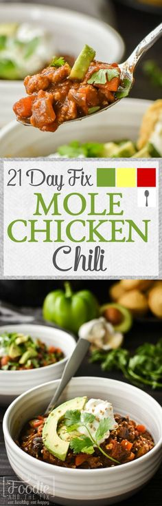 This 21 Day Fix Mole Chicken Chili is a unique and healthy twist on the classic. Packed with veggies, kid-friendly, gluten free, dairy free. Healthy Work Snacks, Super Healthy Recipes, Lunch Recipes, Healthy Dinner Recipes, Whole Food Recipes, Healthy Eating, Clean Eating, Fixate Recipes, Healthy Soups