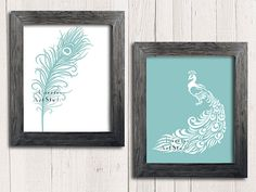 Modern Peacock print Bird art print Peacock feather by EEartstudio, $14.99