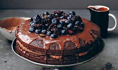 Double chocolate cloud cake - healthy for you too (from Anna Jones a modern way to eat Summer Vegetarian Recipes, Vegan Baking Recipes, Wine Recipes, Vegetarian Food, Summer Recipes, Double Chocolate Cake, Chocolate Icing, Vegan Chocolate, Chocolate Recipes