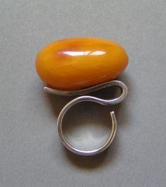 vintage modernist amber + sterling ring