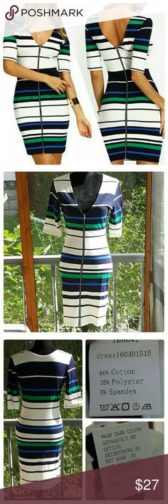 ⚠ ⚠  Striped ColorBlock bodycon dress This dress is REVERSIBLE, zipper side can be worn on the front or the back. Material: 60% Cotton, 35 % polyester, 5% spandex. Dress has some stretch to it.  Pls ignore Asian tags sizes they run abour one size too small for this dress. . USA sizes are listed.  Small (8):  bust: 34.5/ length: 36 in Medium (10):  bust: 36/ length: 36.5 in Boutique  Dresses Mini