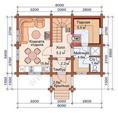 план 1 этажа Гостевой дом-баня проект