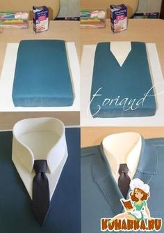 Shirt cake Tutorial - For Father's Day. Cake Decorating Techniques, Cake Decorating Tutorials, Gateau Iga, Fondant Cakes, Cupcake Cakes, Bolo Original, Decors Pate A Sucre, Shirt Cake, Fathers Day Cake
